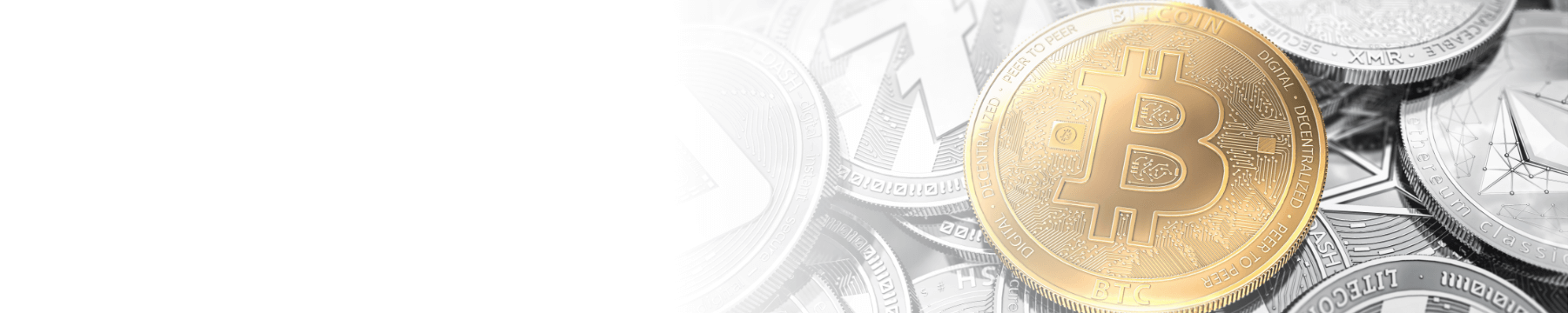 Bitcoin token atop a stack of pile of other crytpo tokens