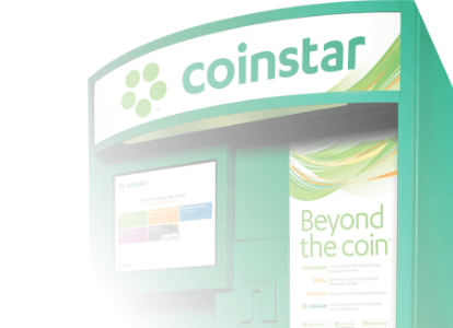 Top half of Coinstar kiosk showing Coinstar logo with white gradient applied