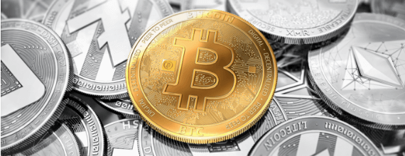 Bitcoin token highlighted among other cryptocurrency tokens