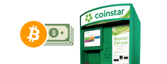 Bitcoin and cash symbols next to a Coinstar machine with active display showing services