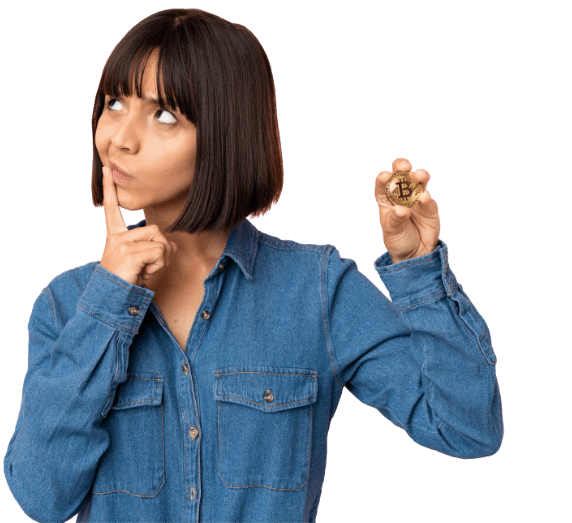 Woman considering bitcoin and holding a coin