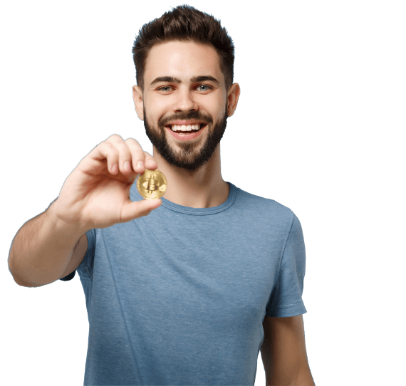 Smiling man holding physical bitcoin