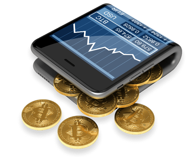 Phone with bitcoin graph and physical coins